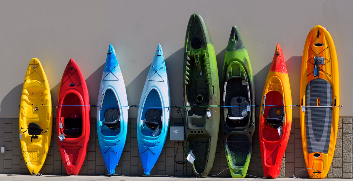 A selection of hard-shell kayaks