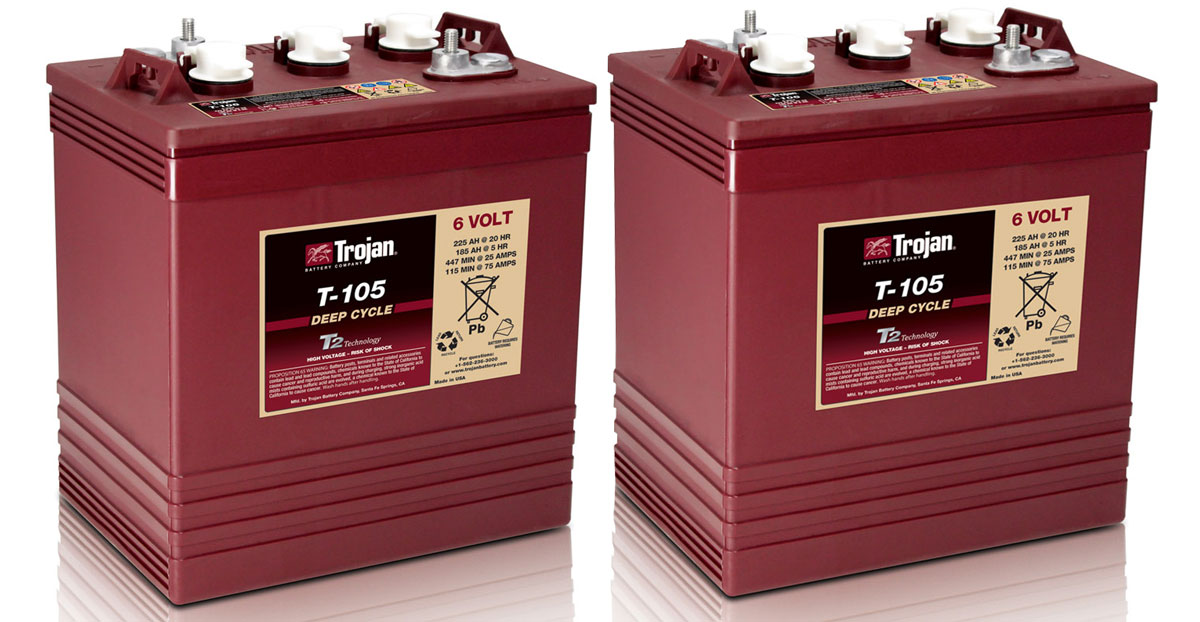 rv batteries 101 why we use trojan t 105 6v golf cart batteries in our rv trek with us. Black Bedroom Furniture Sets. Home Design Ideas
